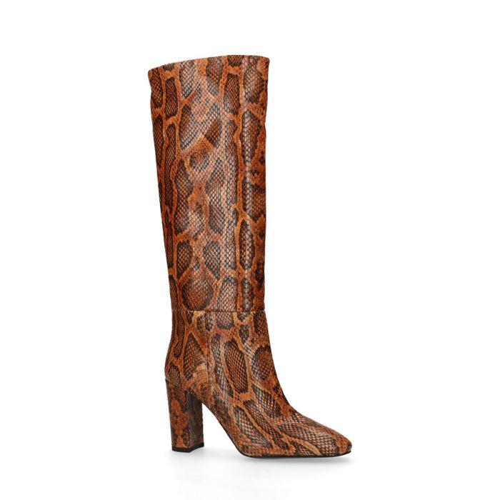 Bottes hautes à talon avec motif peau de serpent - marron