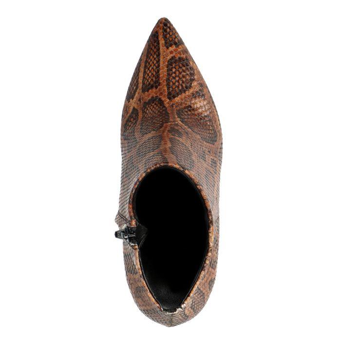 Bottines cuir à talon avec imprimé serpent - marron