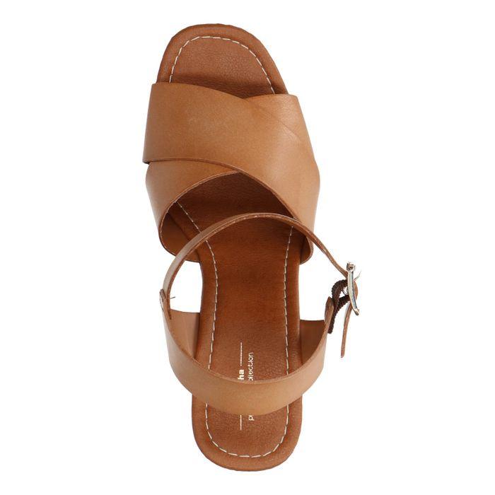 Sandales cuir avec talon compensé - marron