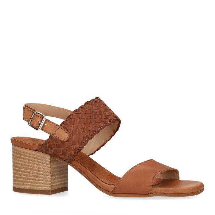 Sandales cuir avec détail tressé - marron