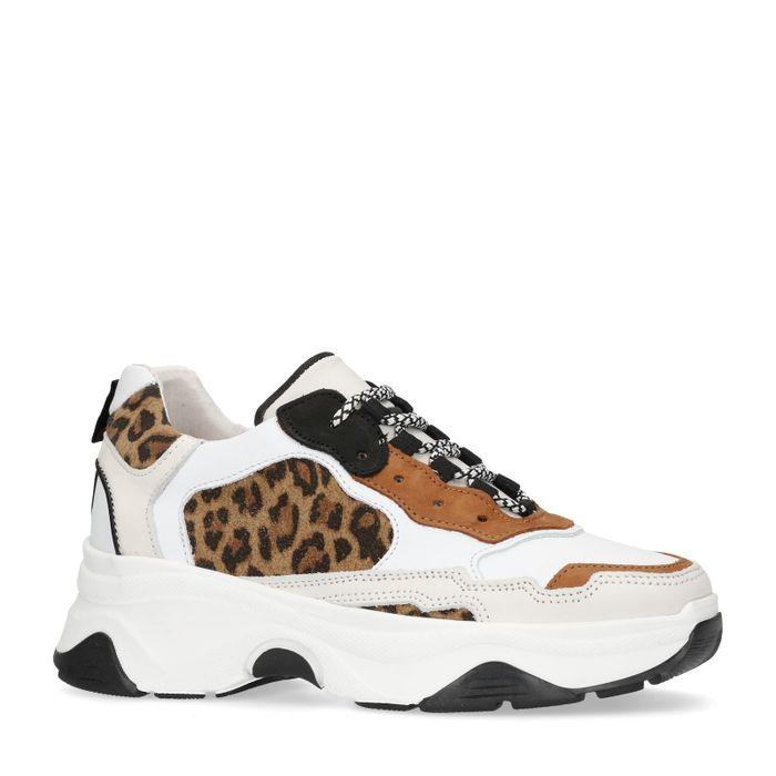 Dad shoes en cuir avec imprimé léopard