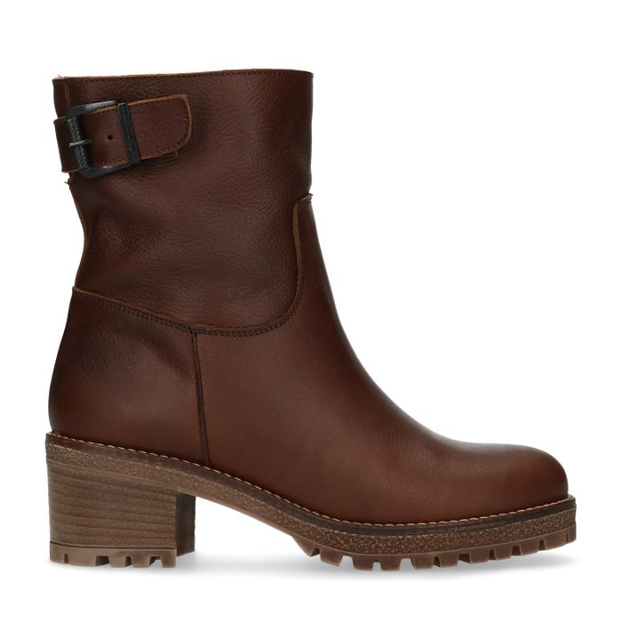 Bottines en cuir avec talon - marron