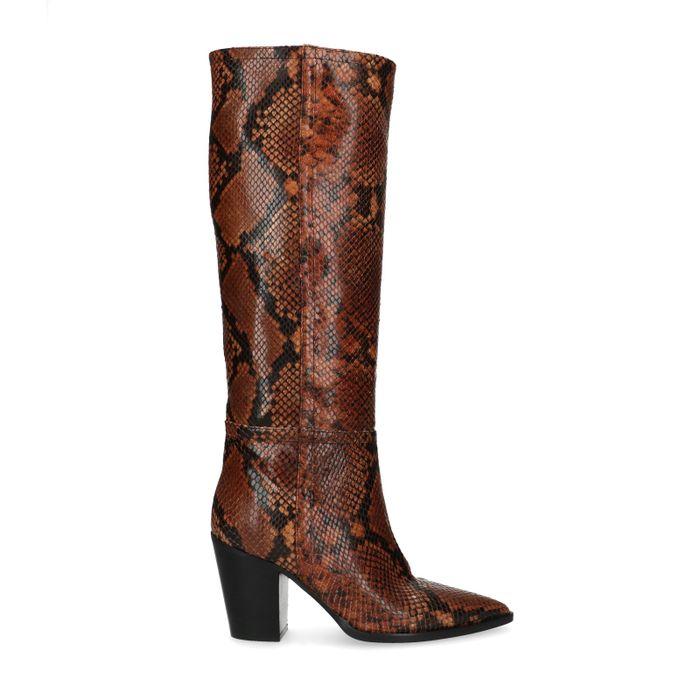 Bottes hautes à talon avec imprimé serpent - marron