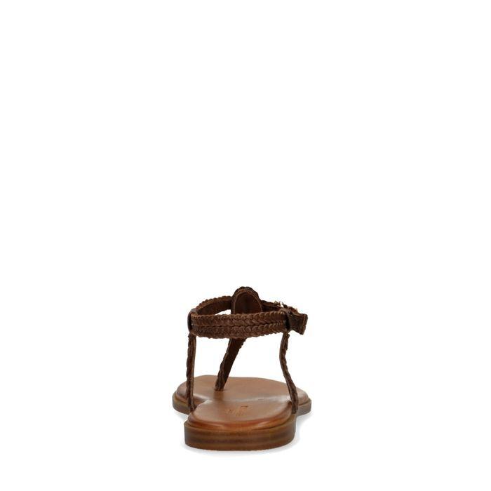 Sandales tressées en cuir - marron