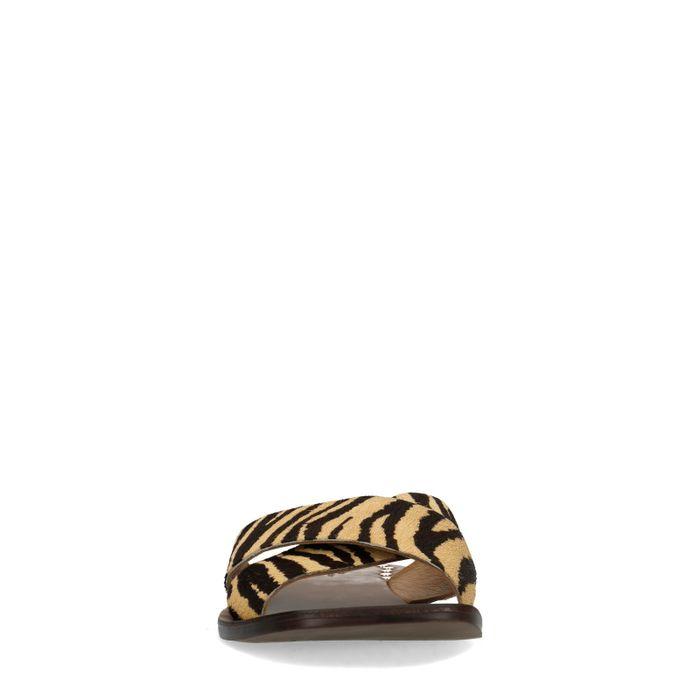 Claquettes avec imprimé tigre - marron
