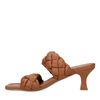 Mules en cuir avec bandes tressées - marron
