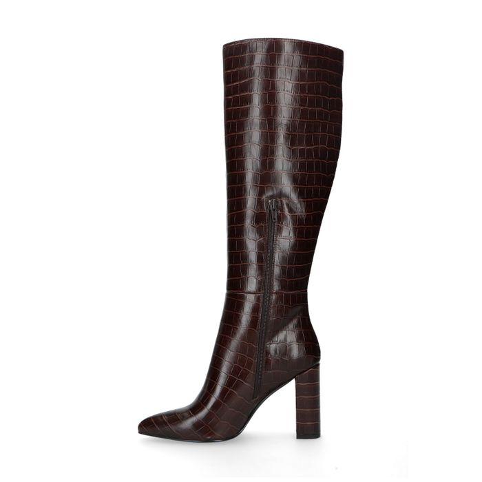 Bottes hautes en cuir avec imprimé croco - marron foncé