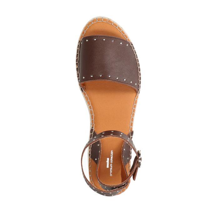 Sandales cuir à plateforme - marron foncé