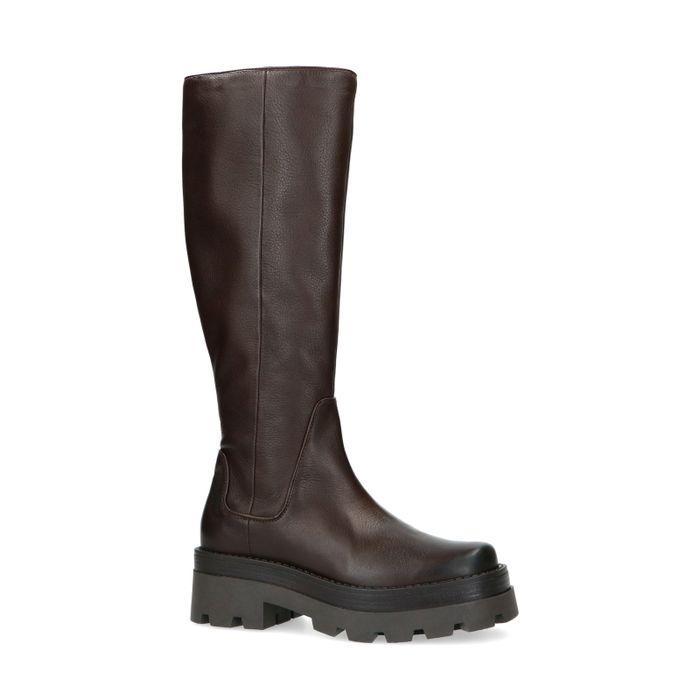 Chelsea boots montantes en cuir - marron foncé