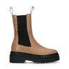 Chelsea boots en cuir avec détail - marron