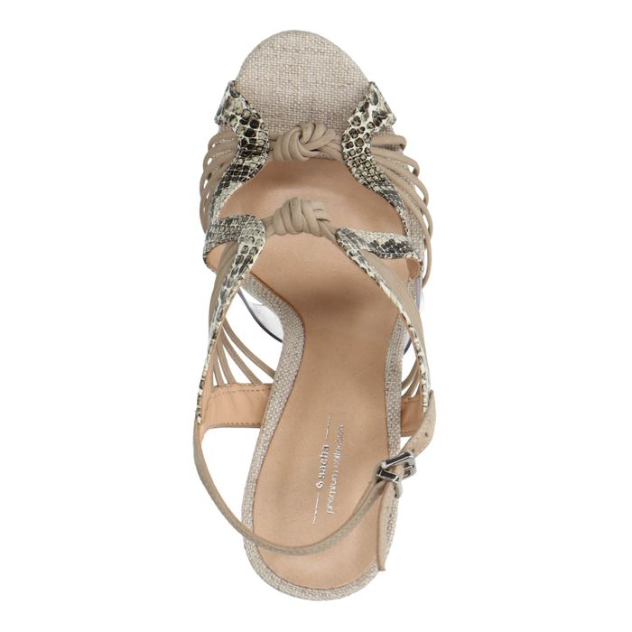 Chaussures cuir à talon aiguille avec imprimé serpent - nude