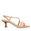 Sandales en cuir avec petit talon - nude