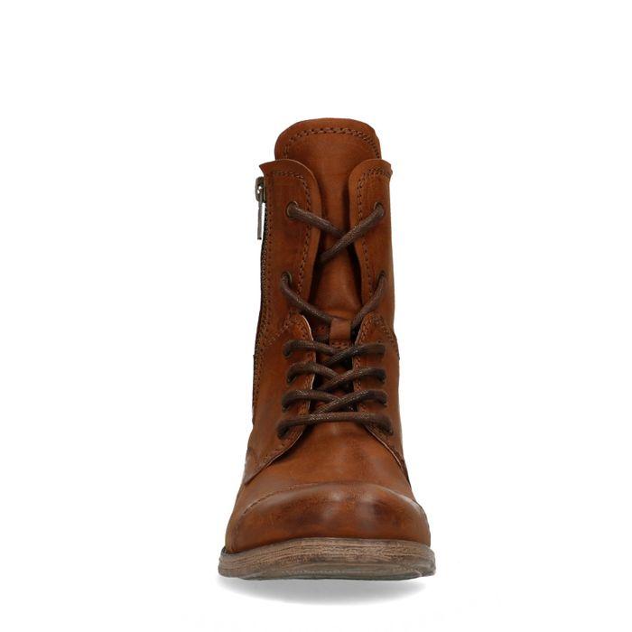Combat boots en cuir - marron