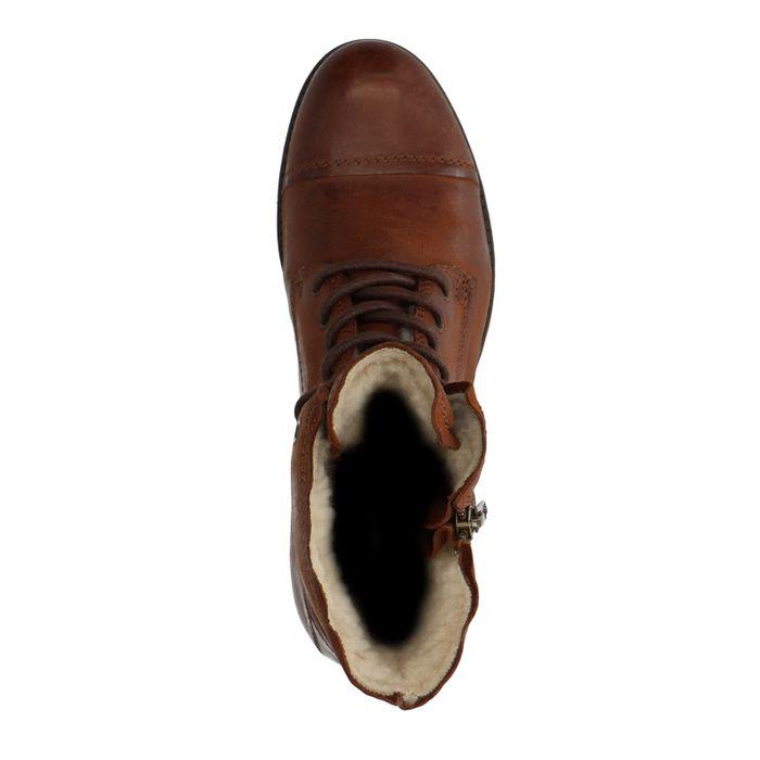 Combat boots en cuir avec doublure fausse fourrure - marron