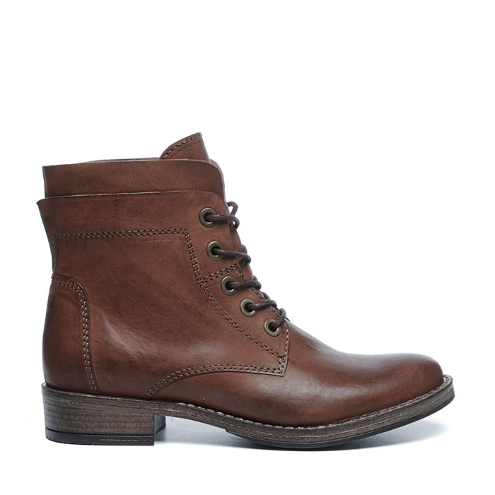 Bottines à lacets en cuir - marron