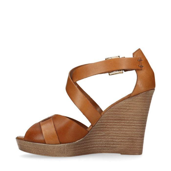Chaussures compensées en cuir - cognac