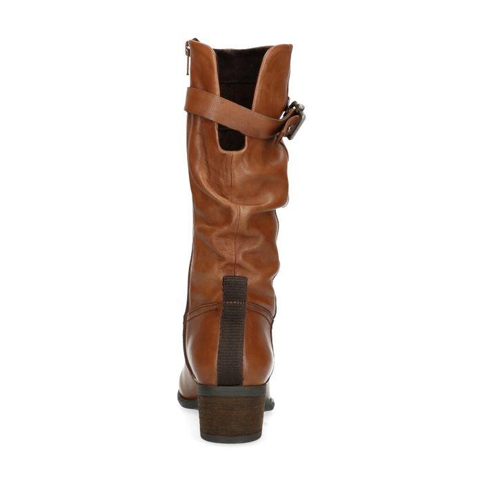 Bottes hautes en cuir effet plissé - marron