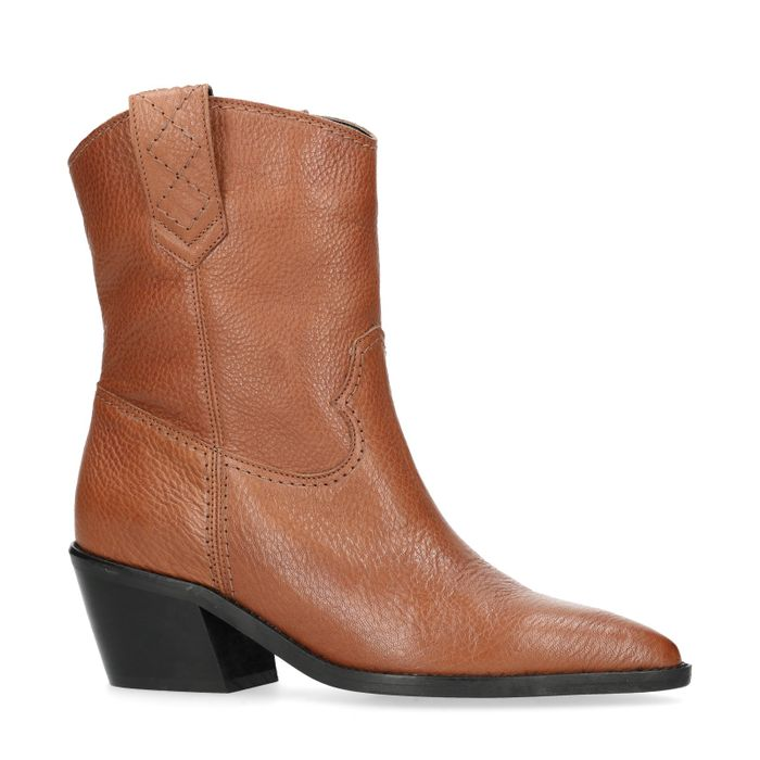 Bottines en cuir style western avec talon - marron