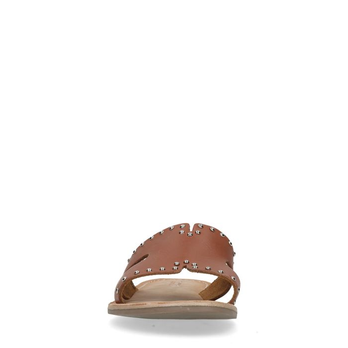 Claquettes en cuir avec clous - marron