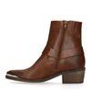 Bottines style western en cuir - marron
