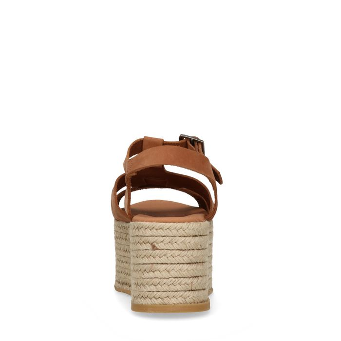 Sandales cuir à plateforme - marron