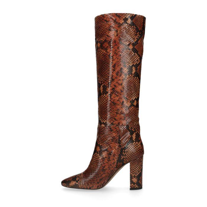 Bottes en cuir avec imprimé serpent - marron