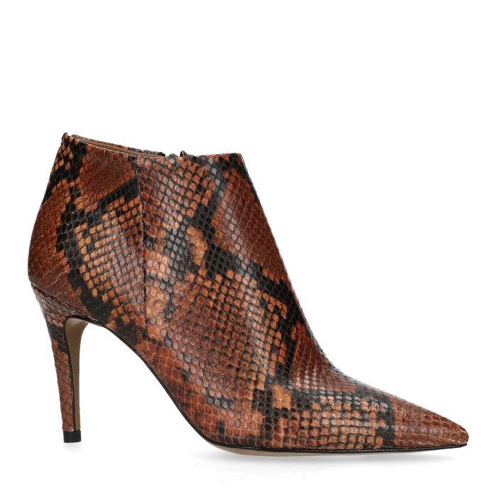 Bottines cuir à talon avec imprimé serpent - marron