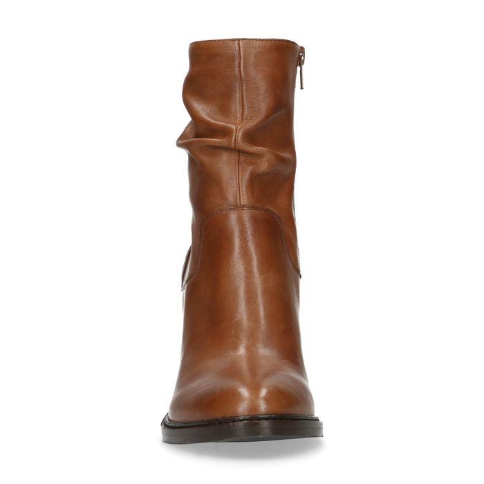 Bottes courtes effet plissé en cuir - marron