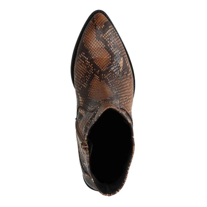 Bottines en cuir avec imprimé serpent - marron