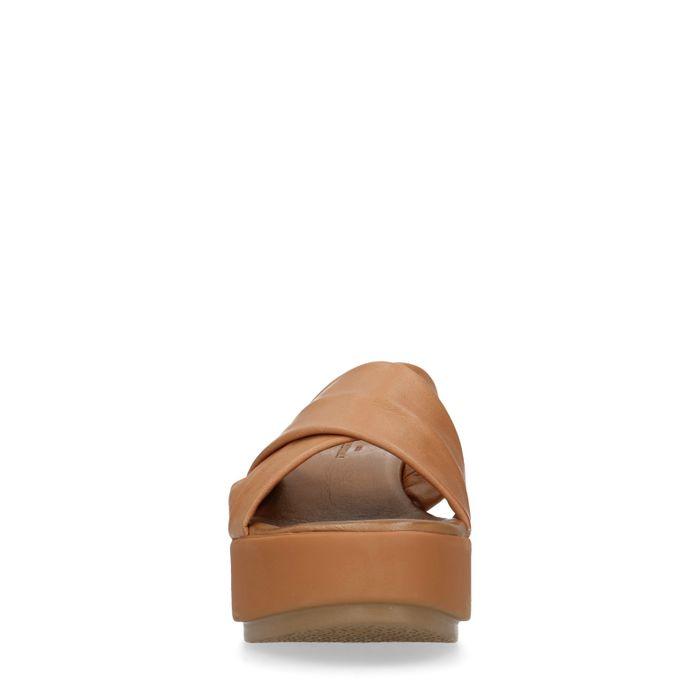 Claquettes en cuir avec semelle plateforme - marron