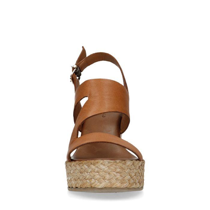 Chaussures cuir à talon compensé - marron