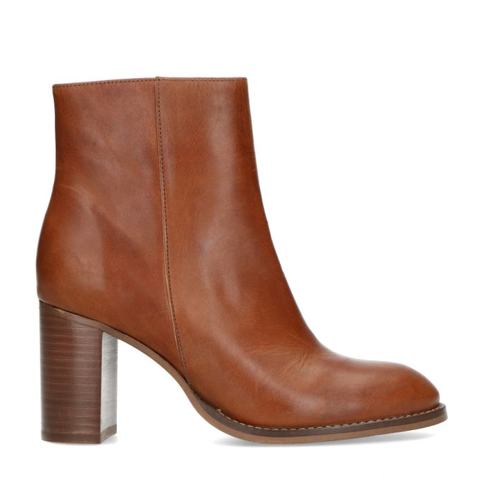 Bottines en cuir à talon - marron