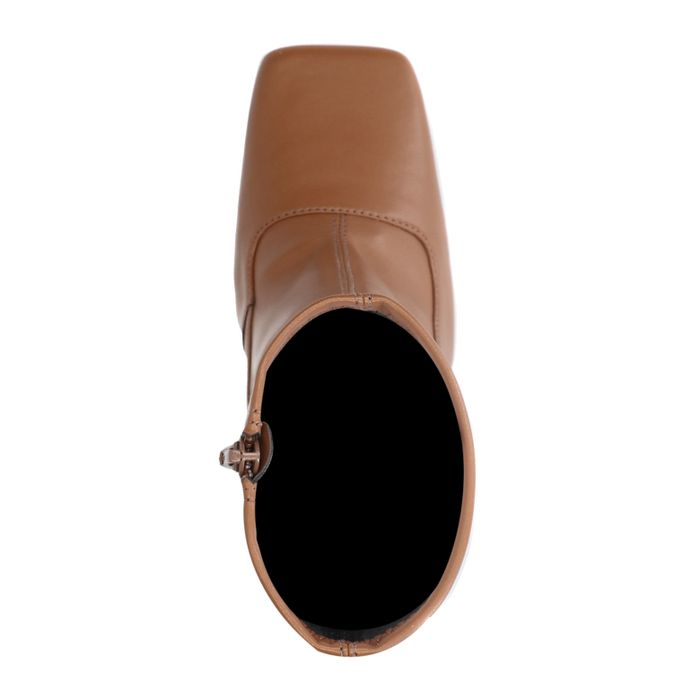 Bottines en cuir avec bout carré - marron
