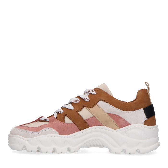 Dad shoes en cuir avec détails colorés - marron