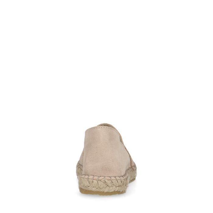 Espadrilles en daim avec détail cuir - beige