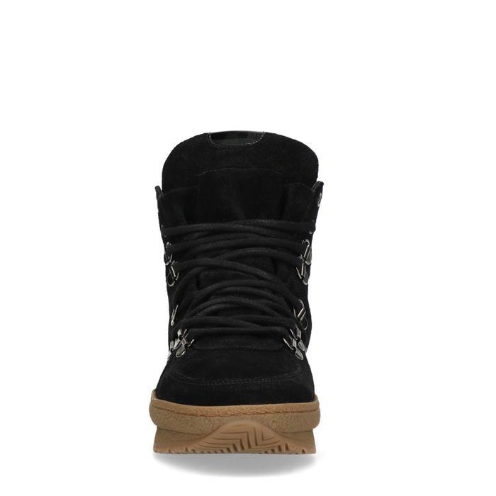 Baskets à plateforme en daim - noir