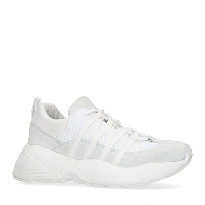 Baskets à plateforme cuir et synthétique - blanc