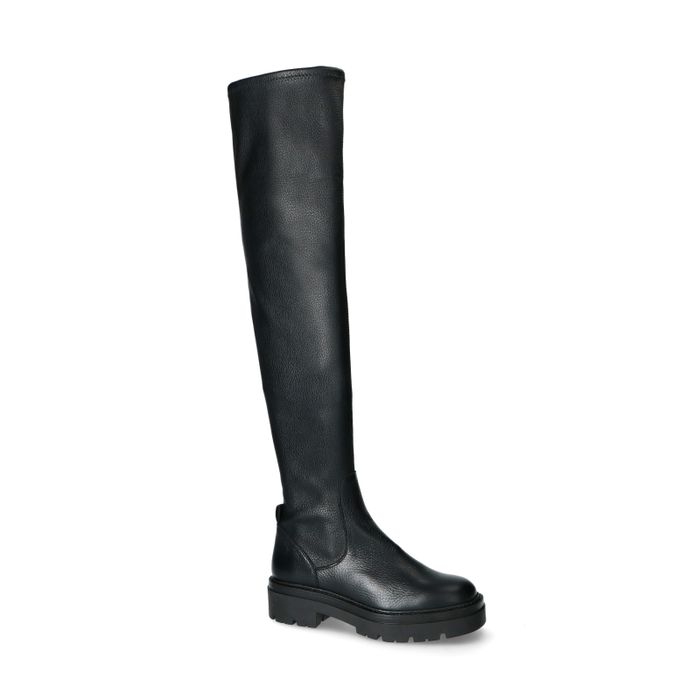 Chelsea boots hautes en cuir et synthétique - noir