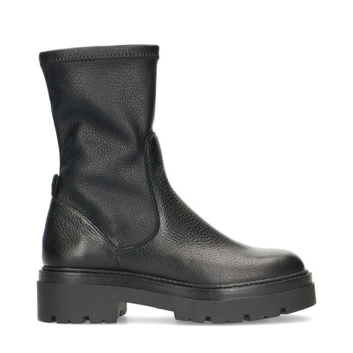 Chelsea boots cuir et synthétique - noir