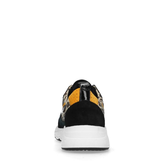 Dad shoes en cuir avec imprimé léopard - noir