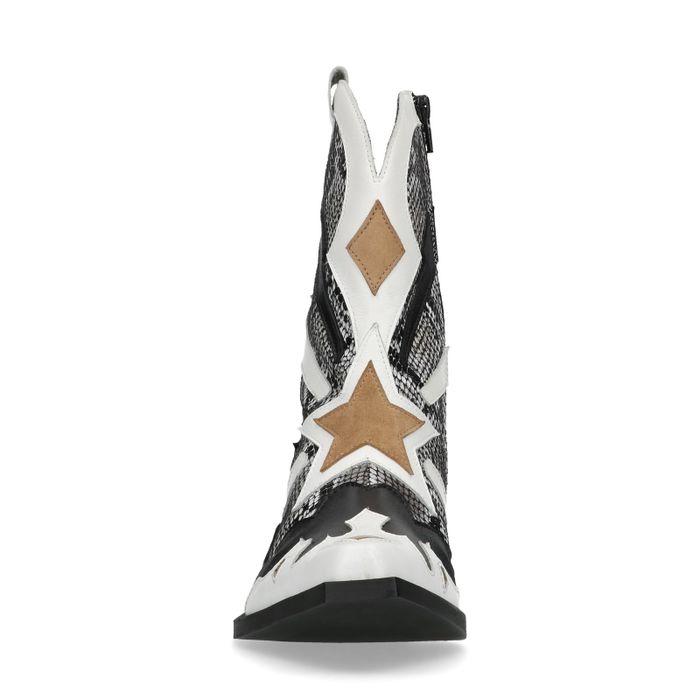 Santiags en cuir avec imprimé serpent et détails - gris