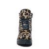Bottines motardes en cuir avec imprimé léopard