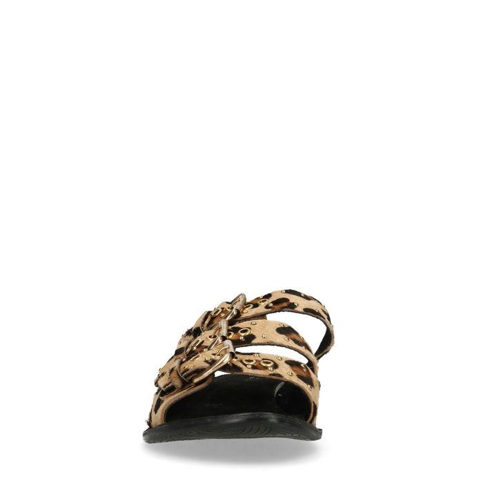 Claquettes avec 3 boucles et imprimé léopard