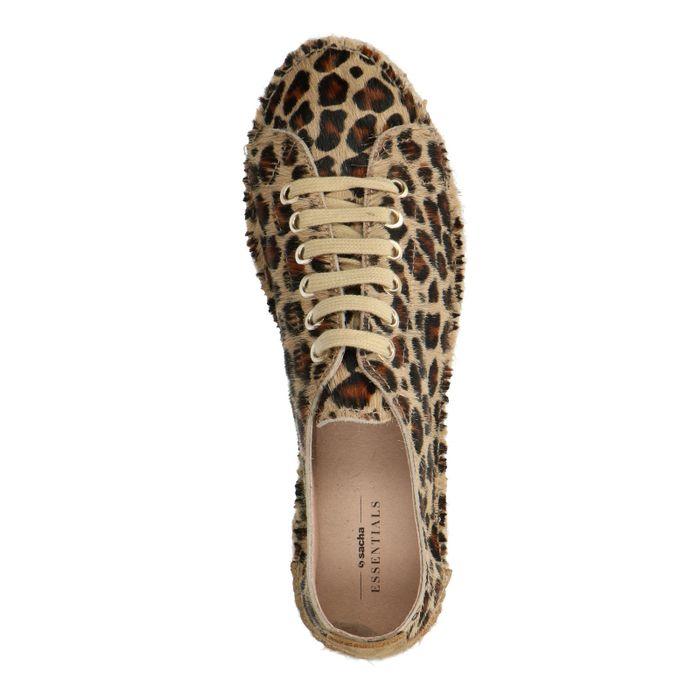 Baskets en cuir à plateforme avec imprimé léopard
