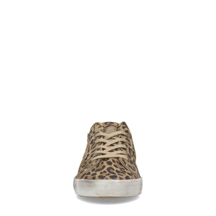 Baskets en cuir basses avec imprimé léopard et détails - marron