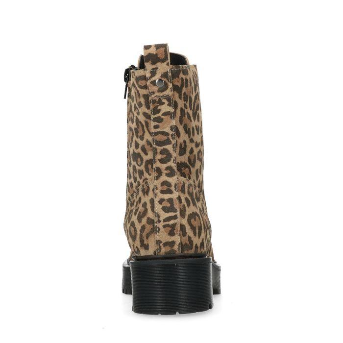 Bottines motardes en cuir avec semelle plateforme et imprimé léopard