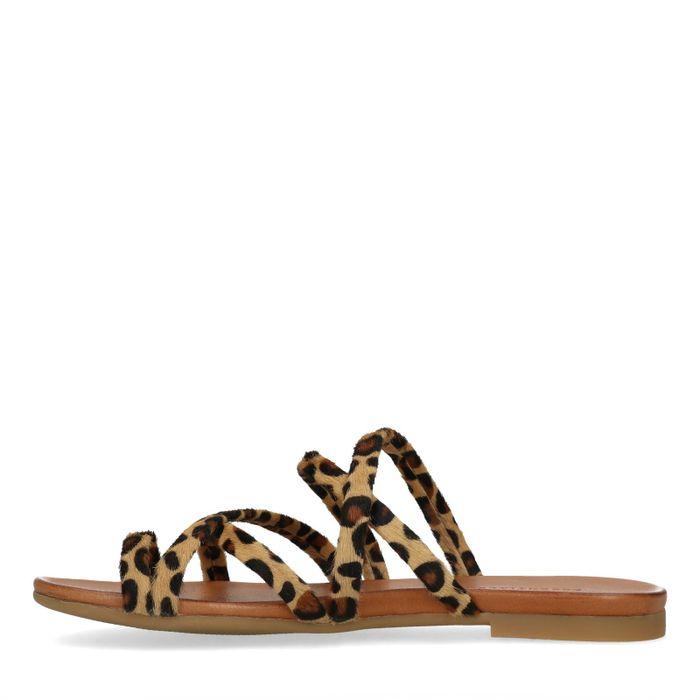 Claquettes en cuir avec imprimé léopard - marron