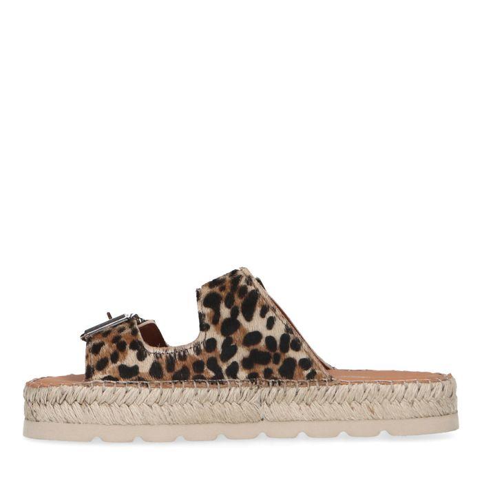 Claquettes en cuir imprimé léopard avec boucles argentées