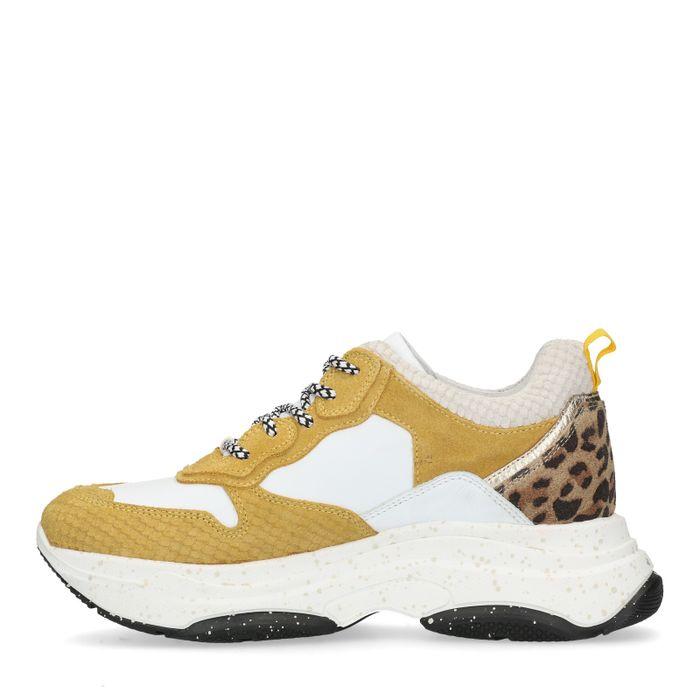 Baskets à plateforme cuir avec détail imprimé léopard - jaune