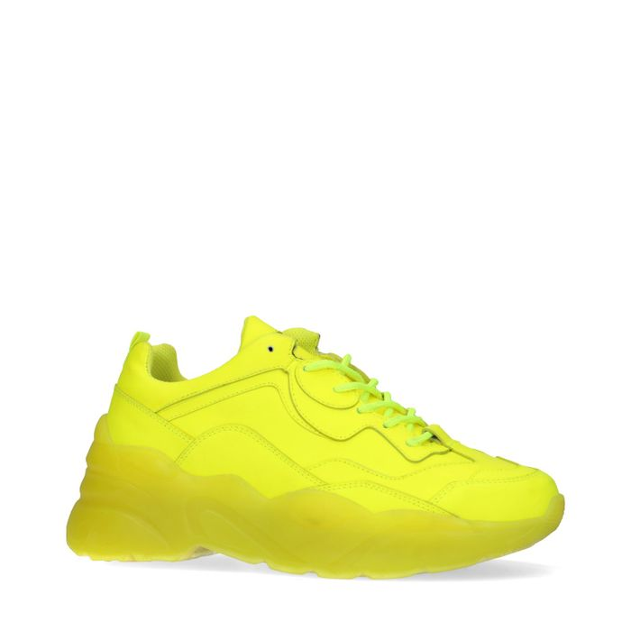 Dad shoes en cuir - jaune fluo